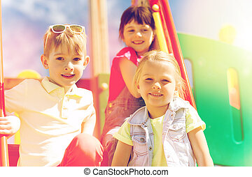 group of happy kids on children playground