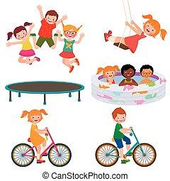 Summer children activities - Stock Vector cartoon...