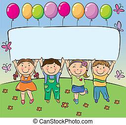 Summer children hold blank banner. Contains transparent...