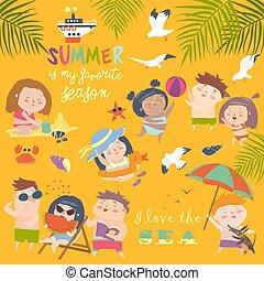 Summer childs outdoor activities. Beach holiday