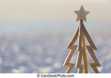 Summer Christmas beach - A driftwood Christmas tree closeup ...