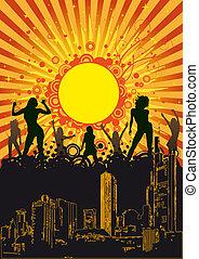 Summer City Party Orange Sun - Design for disco party flyer....