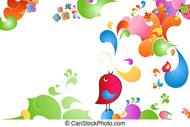 summer color burst, fantasy scene with birds, insects and...