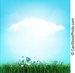 Summer, Cloud, Sky, Grass, Flower And Butterflies