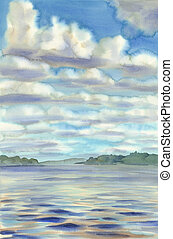 clouds over the lake watercolor