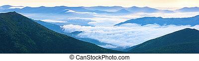 Summer cloudy sunrise mountain panorama view (Ukraine, ...
