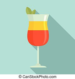 Summer cocktail icon, flat style