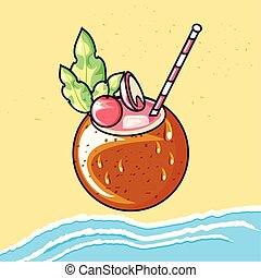 summer cocktail of coconut in beach