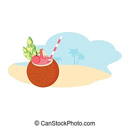 summer cocktail of coconut in the beach