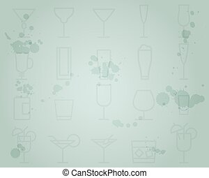 Summer cocktail party grunge background with cocktails line icons. Fresh Modern ice design for cocktail bar. Vector