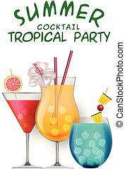 Summer Cocktail Tropical Party Set Of Cocktail White Background Vector Image