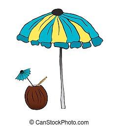 Summer cocktail under the umbrella. vector illustration....