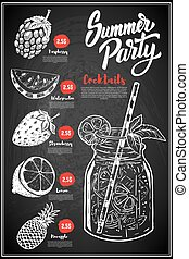 Summer cocktails menu cover layout. Menu chalkboard with hand dr