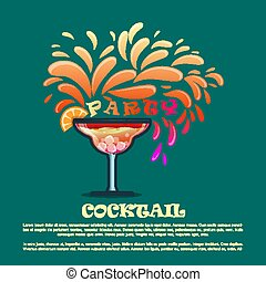 Summer cocktails party banner invitation flyer card poster with alcohol drinks in glasses  template vector illustration