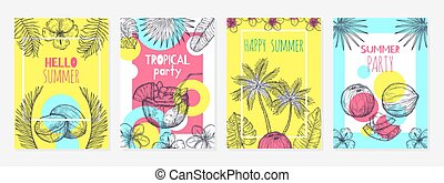 Summer coconut cards. Sketch tropic fruits, modern food background design. Beach bar, fresh cocktails or exotic drinks exact vector labels