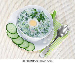 Summer cold soup with vegetables