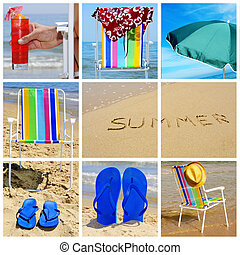 summer collage - a collage of nine pictures of many beach...