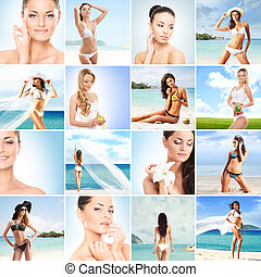 Summer collage. Fitness, healthy eating, resorts, swimsuits...