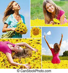 Summer - Collage made of photos with woman among sunflowers