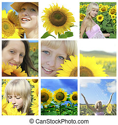 Summer collage with sunflowers and faces - Summer collage...