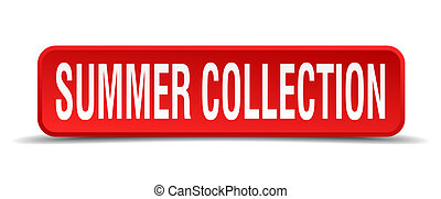 Summer collection red 3d square button isolated on white
