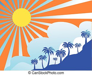 Summer color background with palm trees