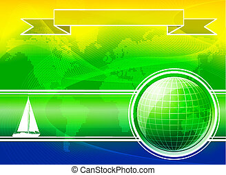 Summer Color Background With Yacht.
