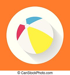 Summer colored rubber inflatable beach ball. Beach Ball flat icon with long shadow.