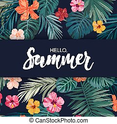 Summer colorful hawaiian vector flyer design with tropical palm leaves and hibiscus flowers