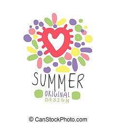 Summer colorful logo template original design, hand drawn vector Illustration with heart