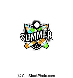 Summer colorful modern logo in a sports style. 2 surf, sun and text on the shield. Vector illustration. Holiday element design poster