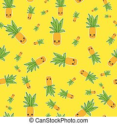 Summer colorful pineapple textile print.