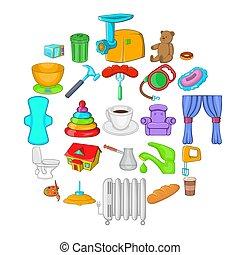 Summer comfort icons set, cartoon style