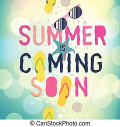 Summer coming soon, Summer holiday poster. Traveling template poster, vector illustration