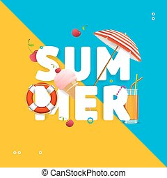 Summer Concept Card Travel Holiday. Vector