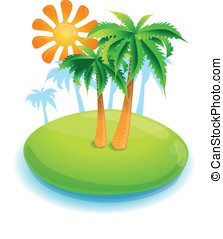 summer concept -green island and palms - vector illustration