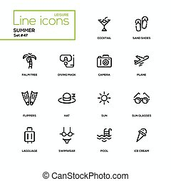 Summer concept - line design icons set