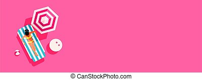 Summer concept of a young girl sunbathes on a deck chair on a sunny day with copyspace on pink background, top view, flat lay. Minimal style