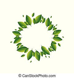 Summer concept of green leaves on a white background. Vector illustration