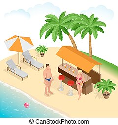 Summer concept of sandy beach. Beach summer couple on beach vacation holiday relax in the sun on their deck chairs under a yellow umbrella. Flat 3d vector isometric illustration.