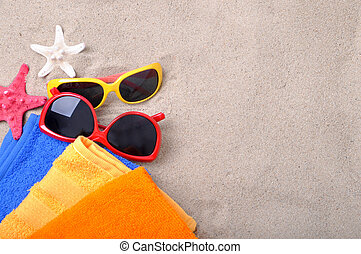 Summer concept of sandy beach, vacation