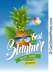 Summer concept with pineapple in sunglasses