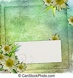 Summer Congratulation card to the holiday with frame and flowers