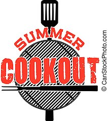 Summer Cookout is an illustration of a cookout or barbecue design with a grill top, spatula, fork and Summer Cookout text. Great for cookout or barbecue flyers, invitations or t-shirts.