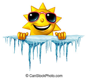 Summer cool down concept and cooling off idea as a sun character icon holding on to a chunk of snow and ice with icicles as a symbol for managing hot weather summer heat and a refreshing break from a heatwave.