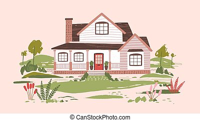 Summer cottage or beautiful two-storey suburban residential...