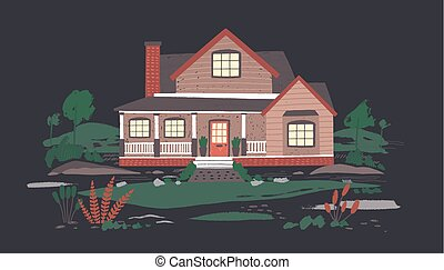 Summer cottage or mansion with porch surrounded by beautiful...