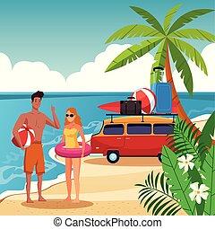 Summer couple in the beach cartoon