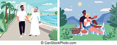 Summer couple recreation flat color vector illustration set