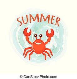Summer Crab Oceanic Underwater Cartoon Animal